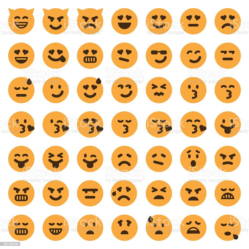 Color emoji icons set 2 vector art illustration