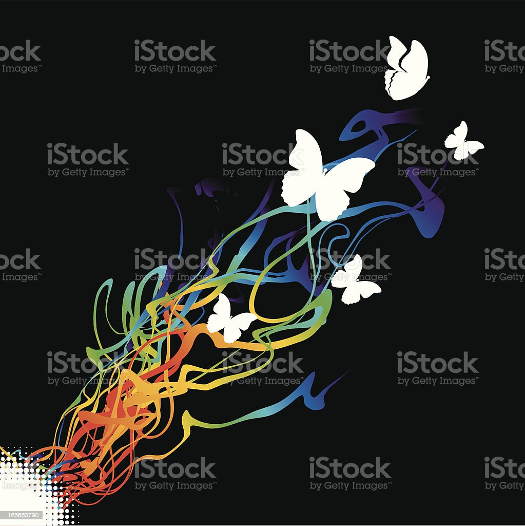 Color explosion with butterflies royalty-free stock vector art