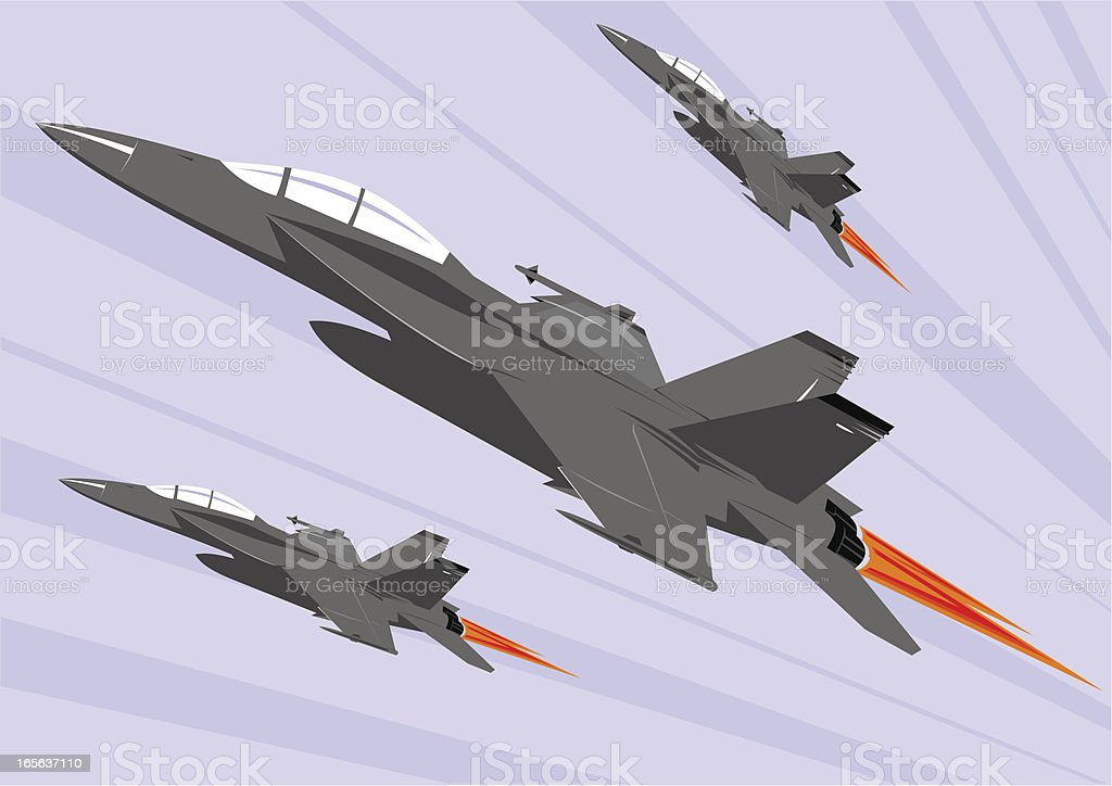 Color F-18 super hornet formation royalty-free stock vector art