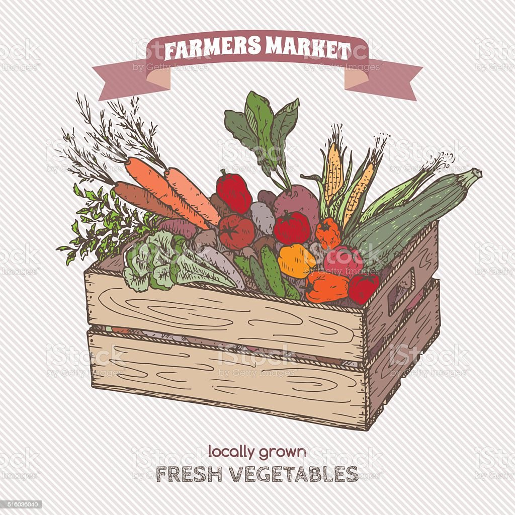 Color farmers market label with vegetables in wooden crate. vector art illustration