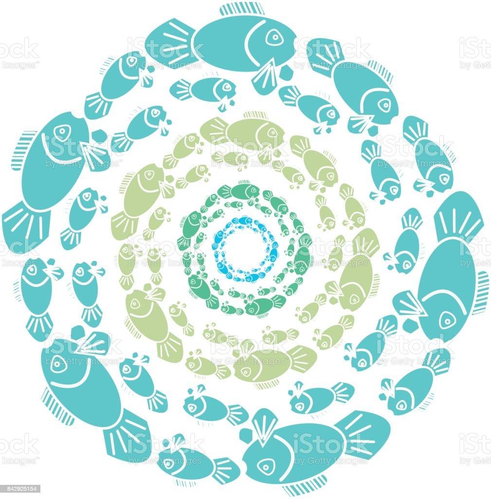 Color fish in ring on white background. Vector illustration. vector art illustration