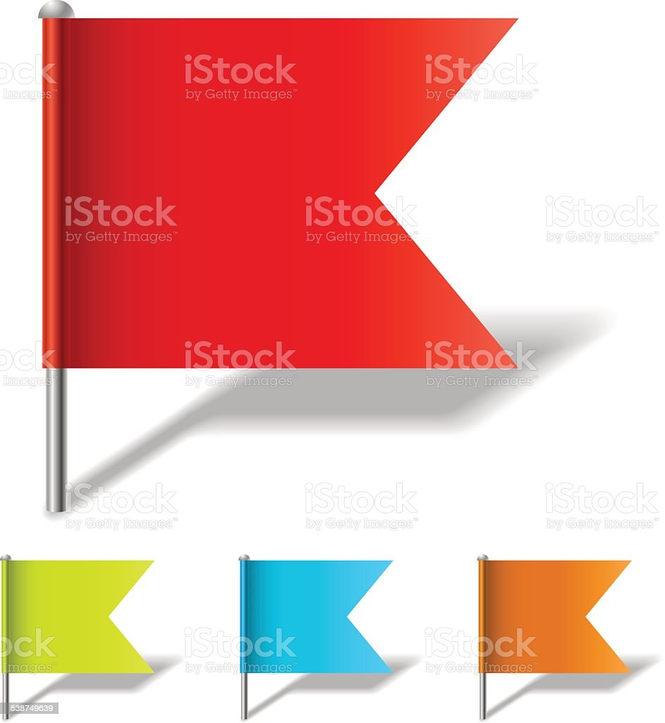 Color flag pin template vector art illustration
