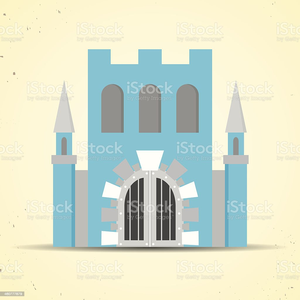 Color flat castle icon for web and mobile applications vector art illustration