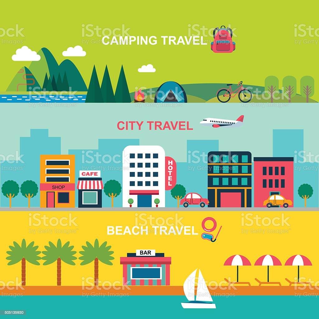 color flat  style vector illustration for summer travel vector art illustration