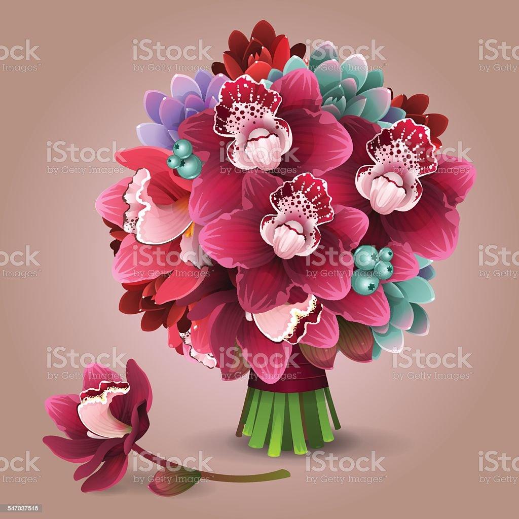Color flowers bouquet 2 vector art illustration