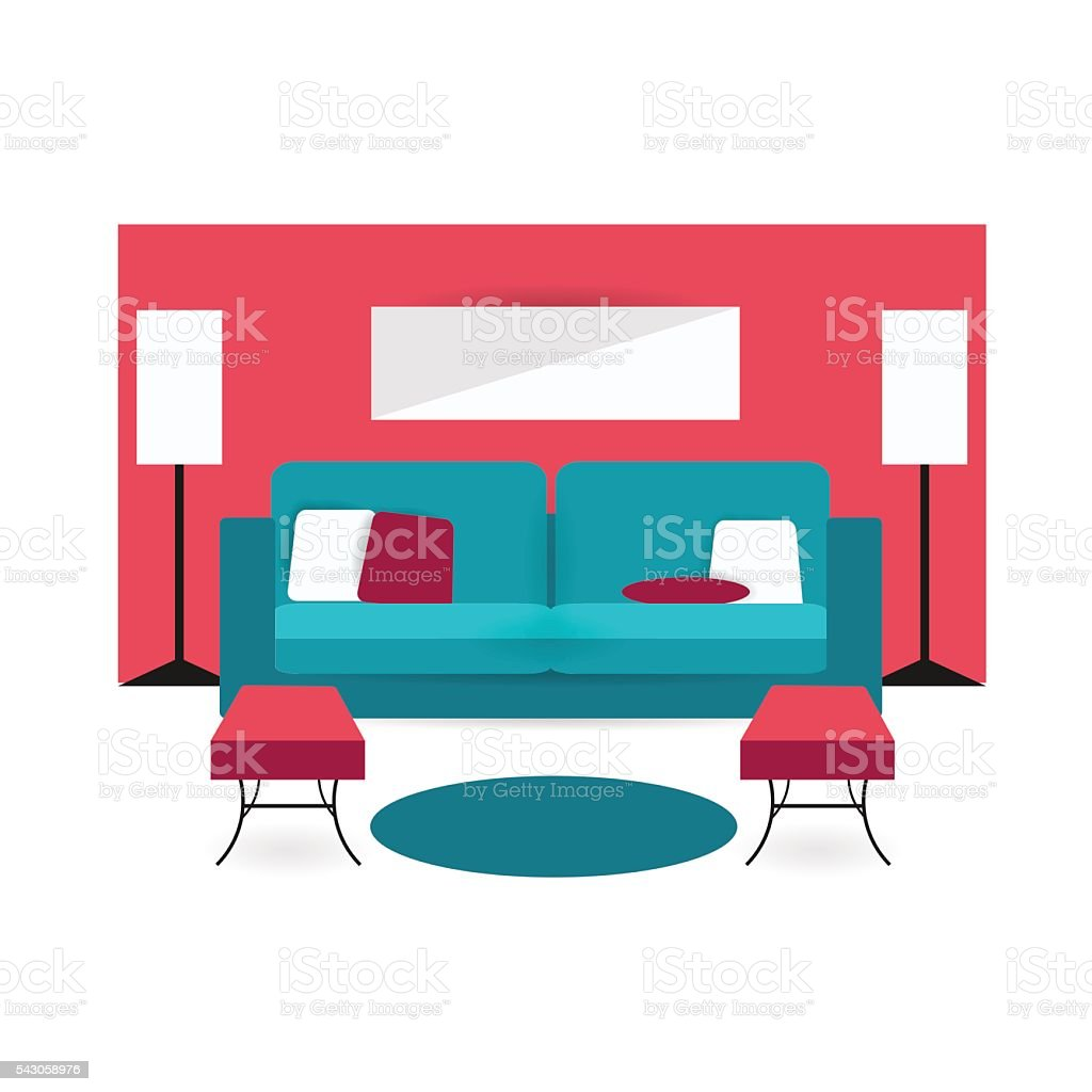 Color Furniture Living Room Flat Icon Royalty Free Stock Vector Art