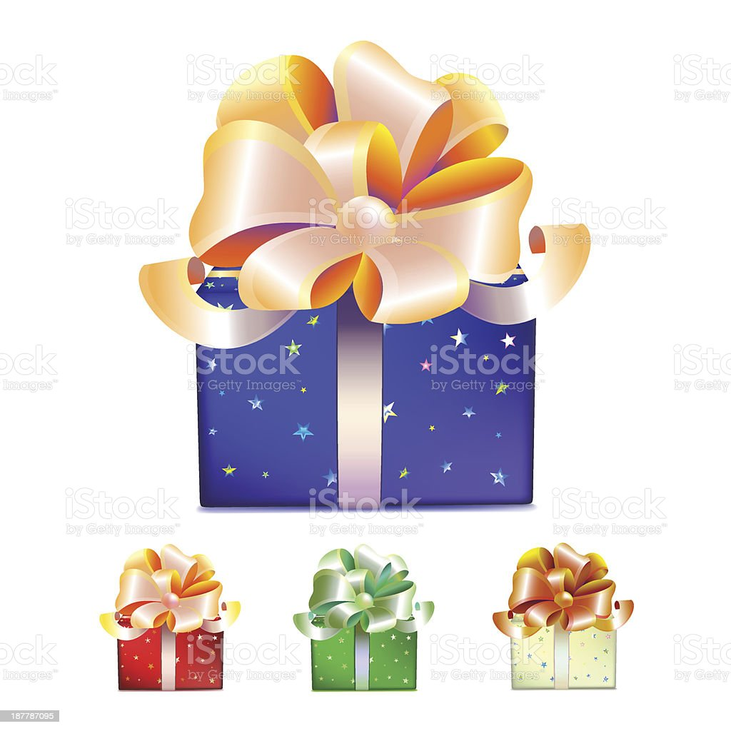 Color gift boxes with bows and ribbons royalty-free stock vector art