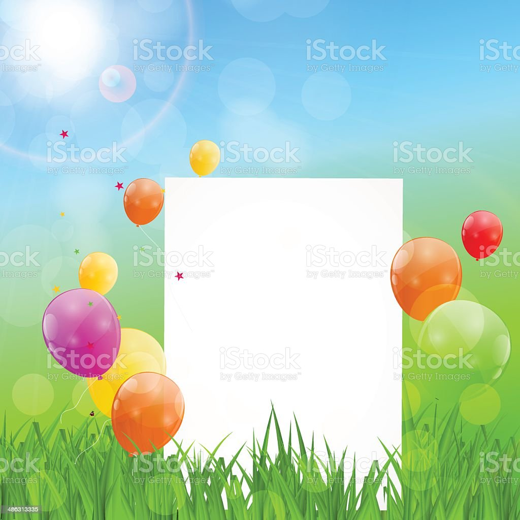 Color Glossy Balloons Birthday Card Background Vector Illustrat royalty-free stock vector art