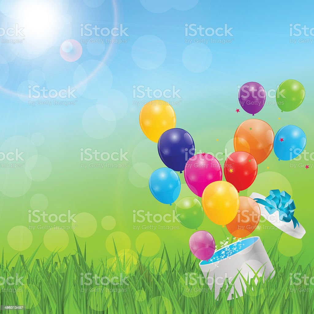 Color Glossy Balloons Birthday Card Background Vector Illustrat royalty-free stock vector art