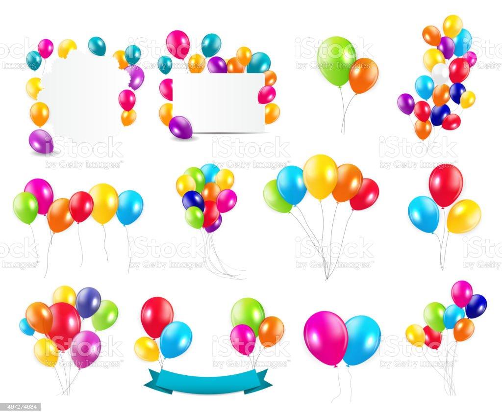 Color Glossy Balloons  Mega Set Vector Illustration vector art illustration
