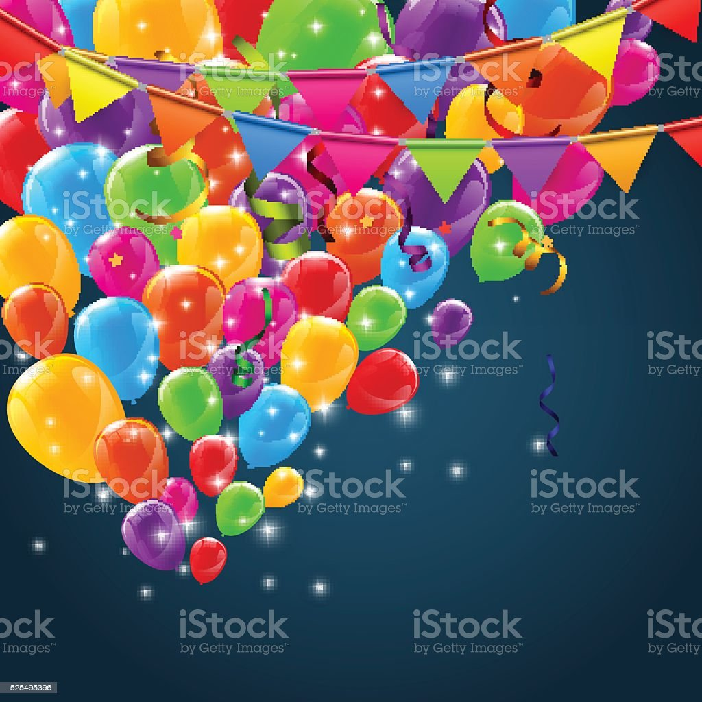 Color Glossy Happy Birthday Balloons Banner Background vector art illustration