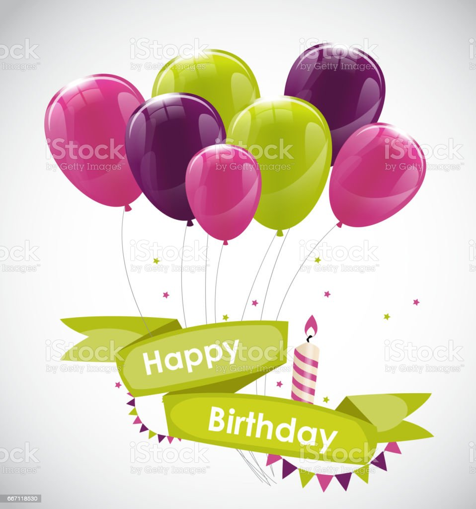 Color Glossy Happy Birthday Balloons Banner Background Vector Il vector art illustration