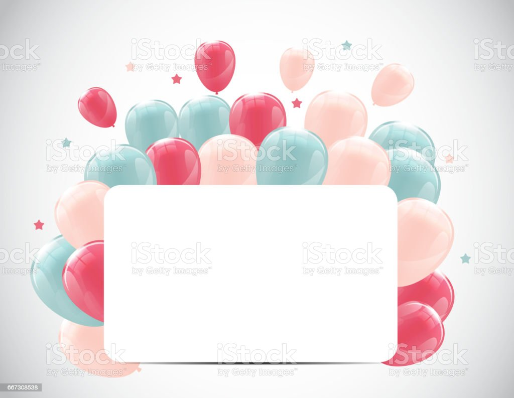 Color Glossy Happy Birthday Balloons Banner Background Vector...