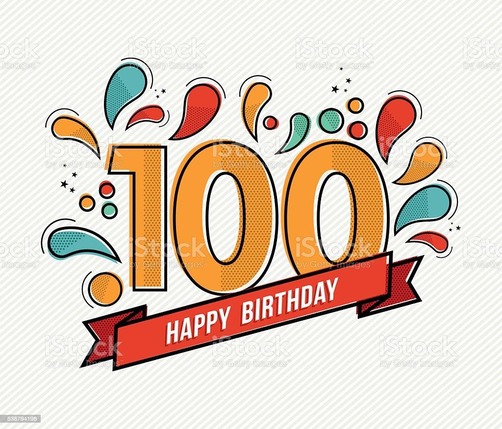 Color happy birthday number 100 flat line design vector art illustration