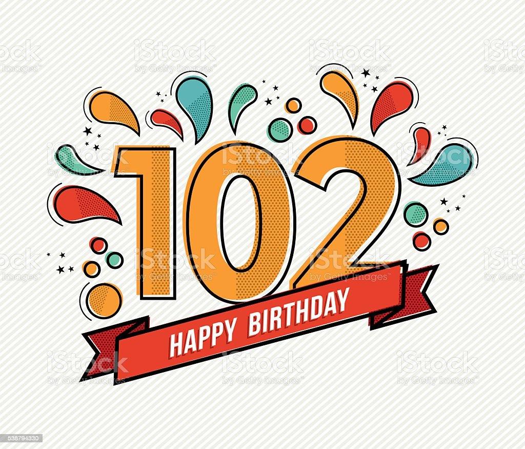 Color happy birthday number 102 flat line design vector art illustration