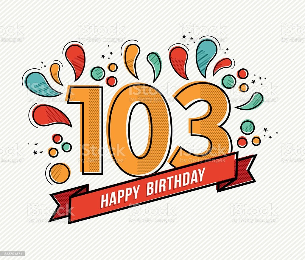 Color happy birthday number 103 flat line design vector art illustration