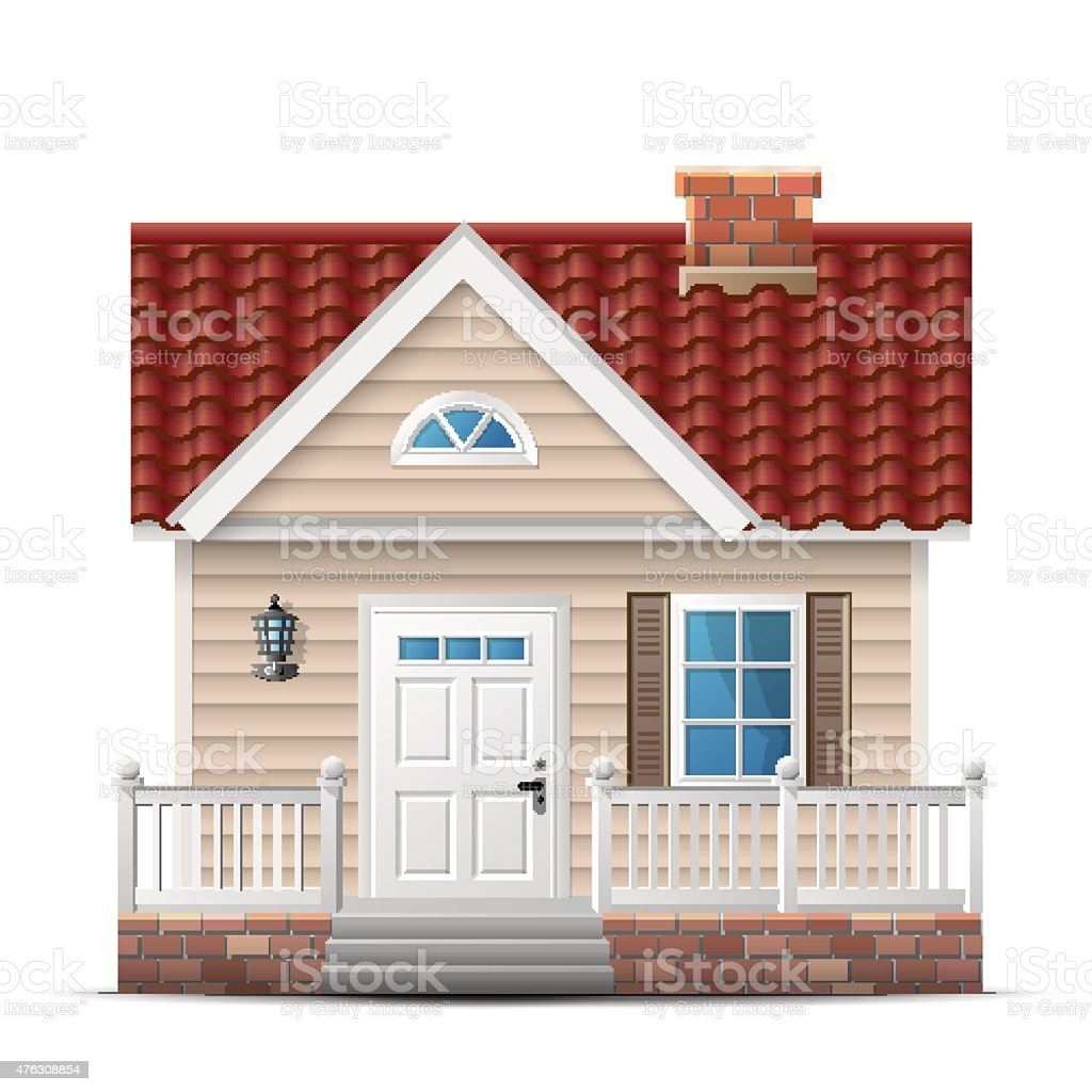 Color house with porch vector art illustration