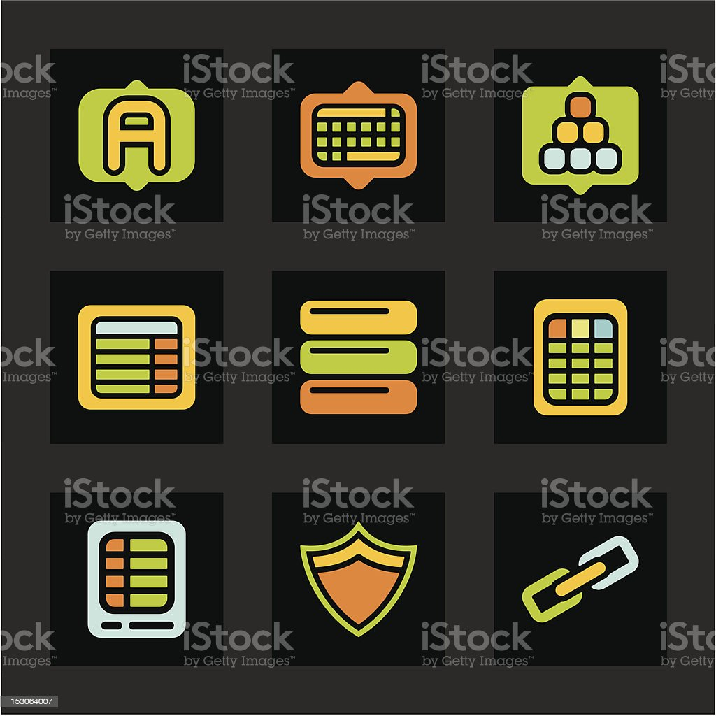 Color Icon Series - Database Icons royalty-free stock vector art