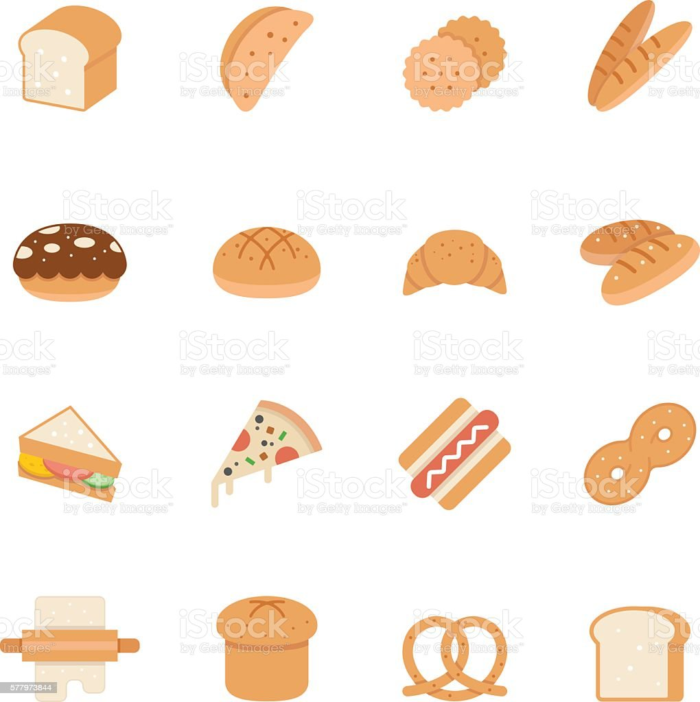 Color icon set - bread and bakery vector art illustration