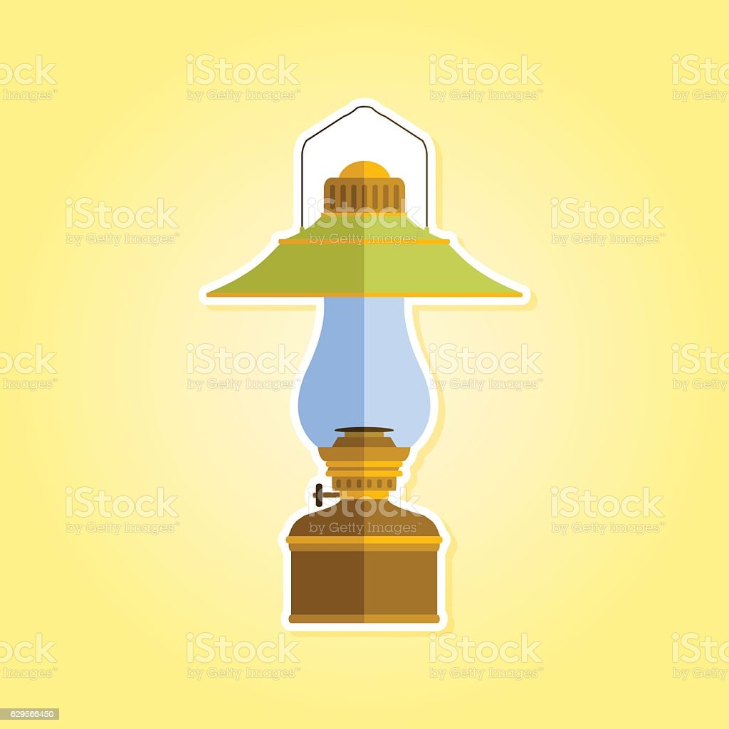 color icon with lantern vector art illustration