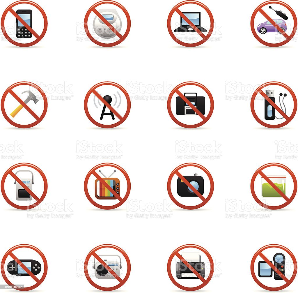 Color Icons - Airplane On Board Restrictions vector art illustration
