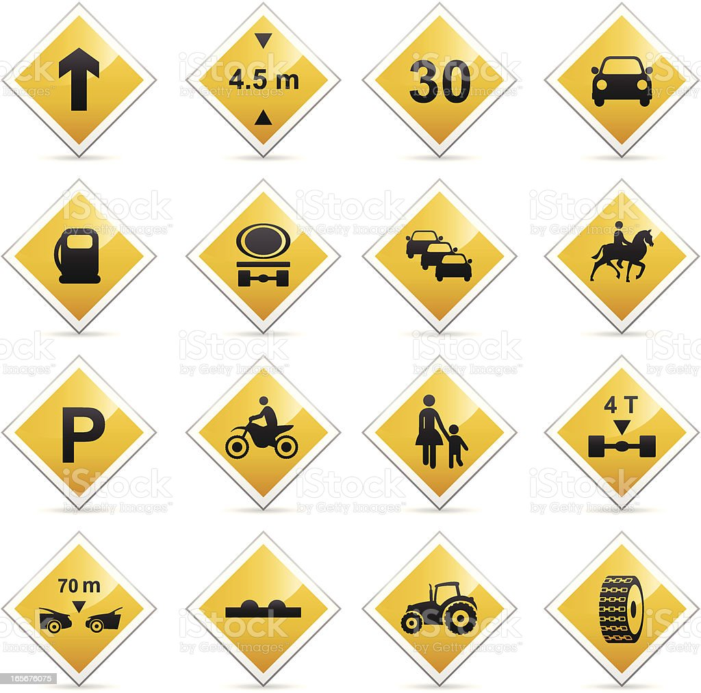Color Icons - American Road Signs vector art illustration