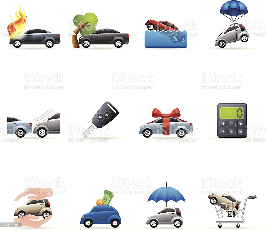 Color  Icons - Auto Insurance vector art illustration