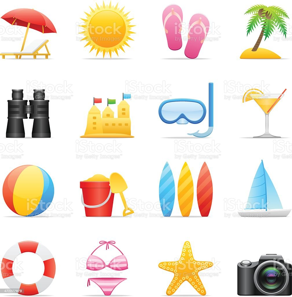 Color Icons - Beach royalty-free stock vector art