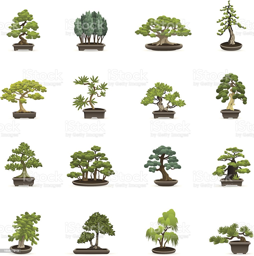 Color Icons - Bonsai Trees vector art illustration