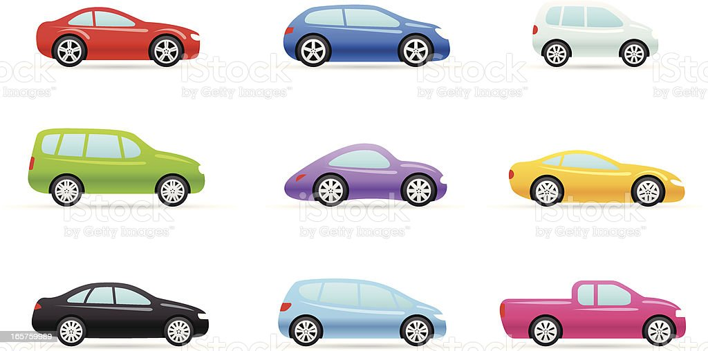 Color Icons - Cars vector art illustration