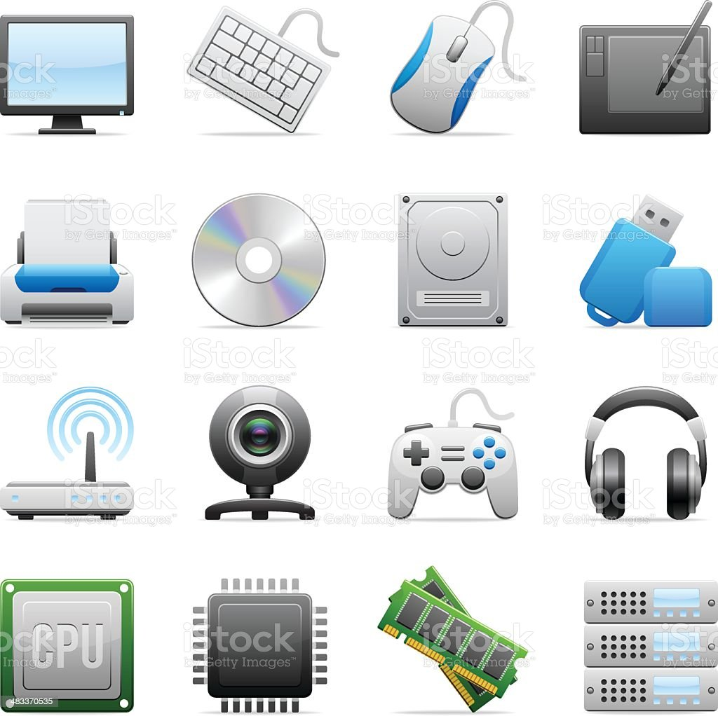 Color Icons - Computer Equipments vector art illustration