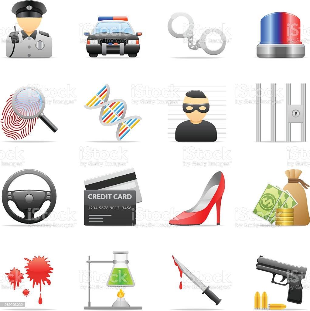 Color Icons - Crime vector art illustration