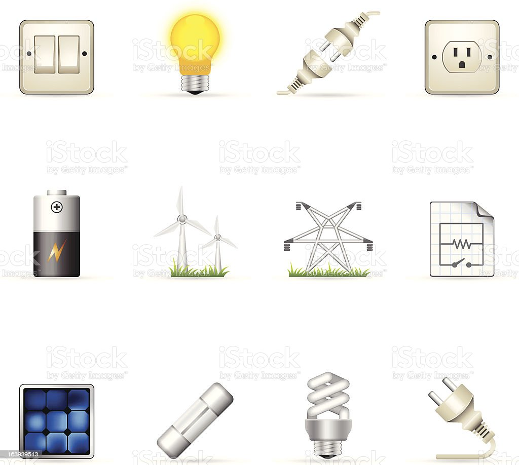 Color  Icons - Electricity royalty-free stock vector art