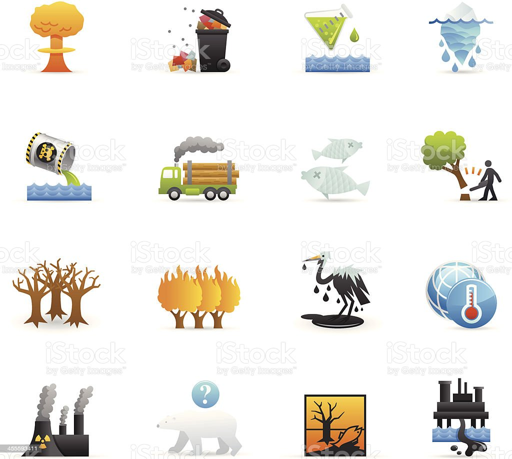 Color Icons - Environmental Damage royalty-free stock vector art
