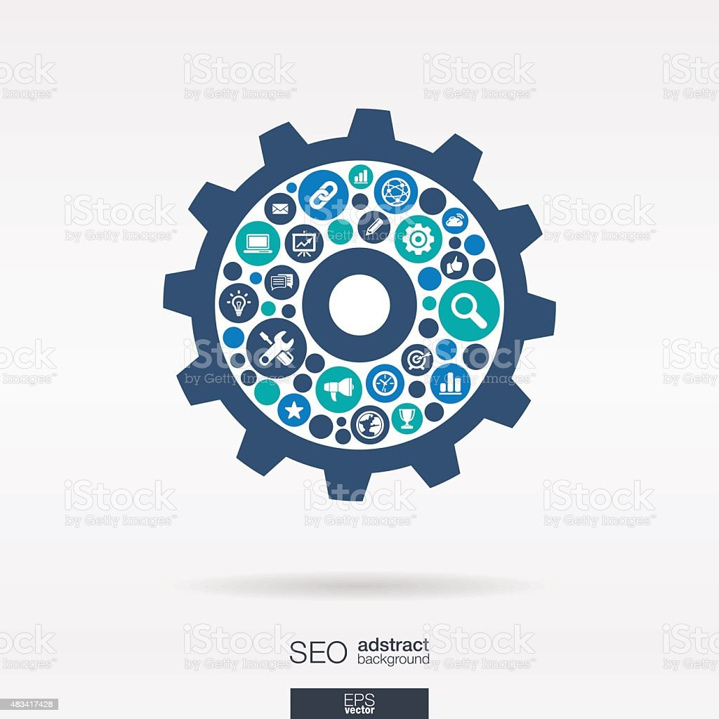 SEO color icons in cogwheel shape abstract background: vector illustration. vector art illustration