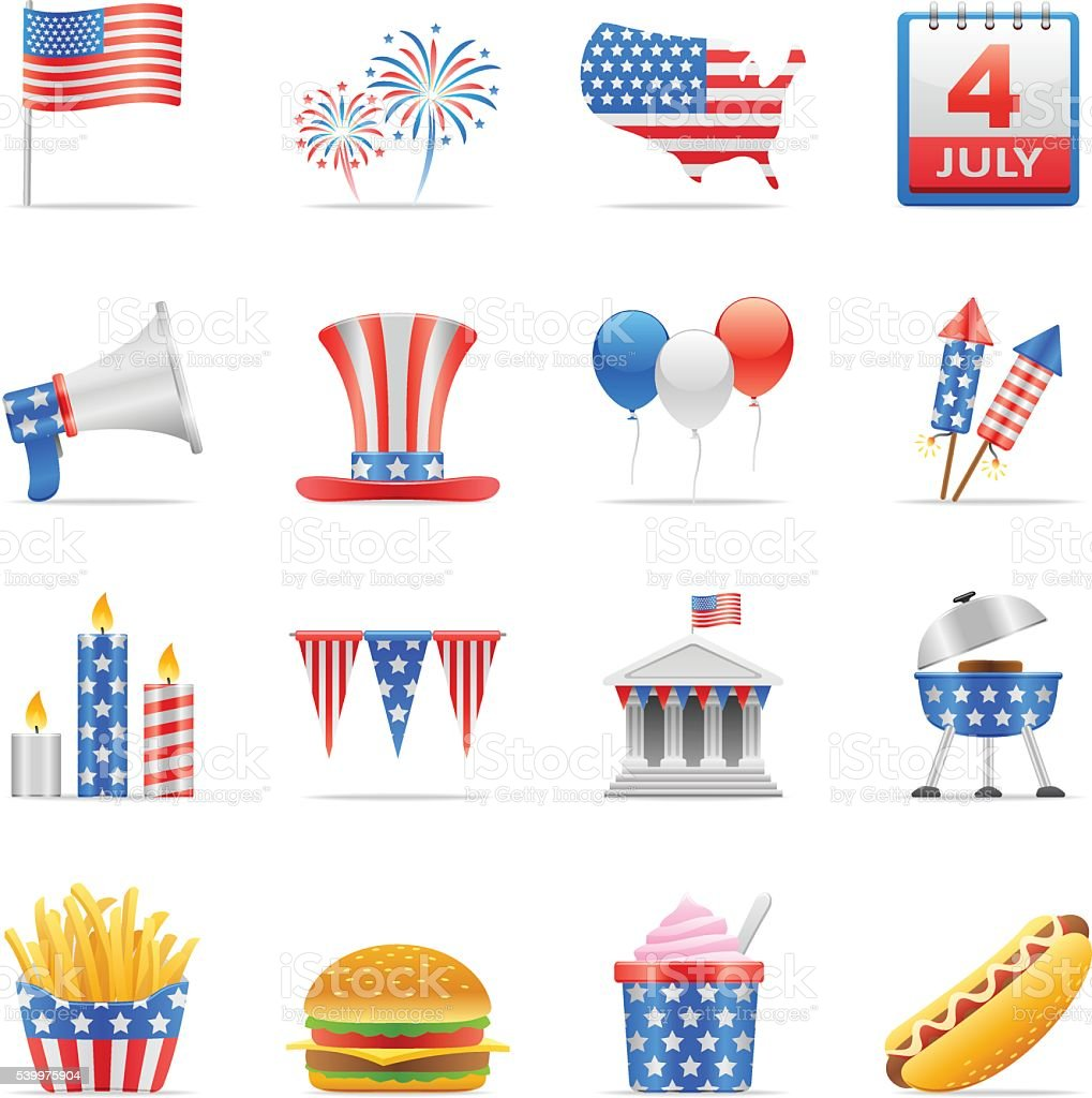 Color Icons - Independence Day vector art illustration
