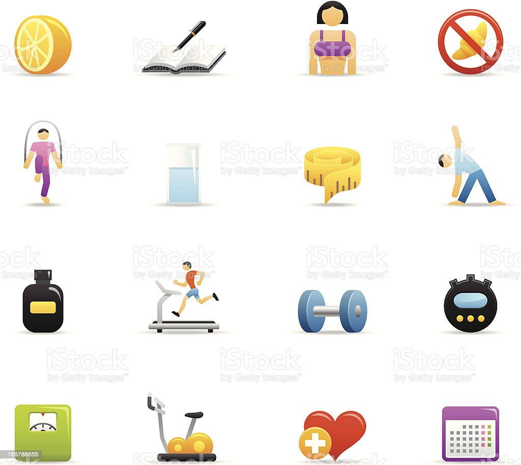 Color Icons - Loosing Weight vector art illustration