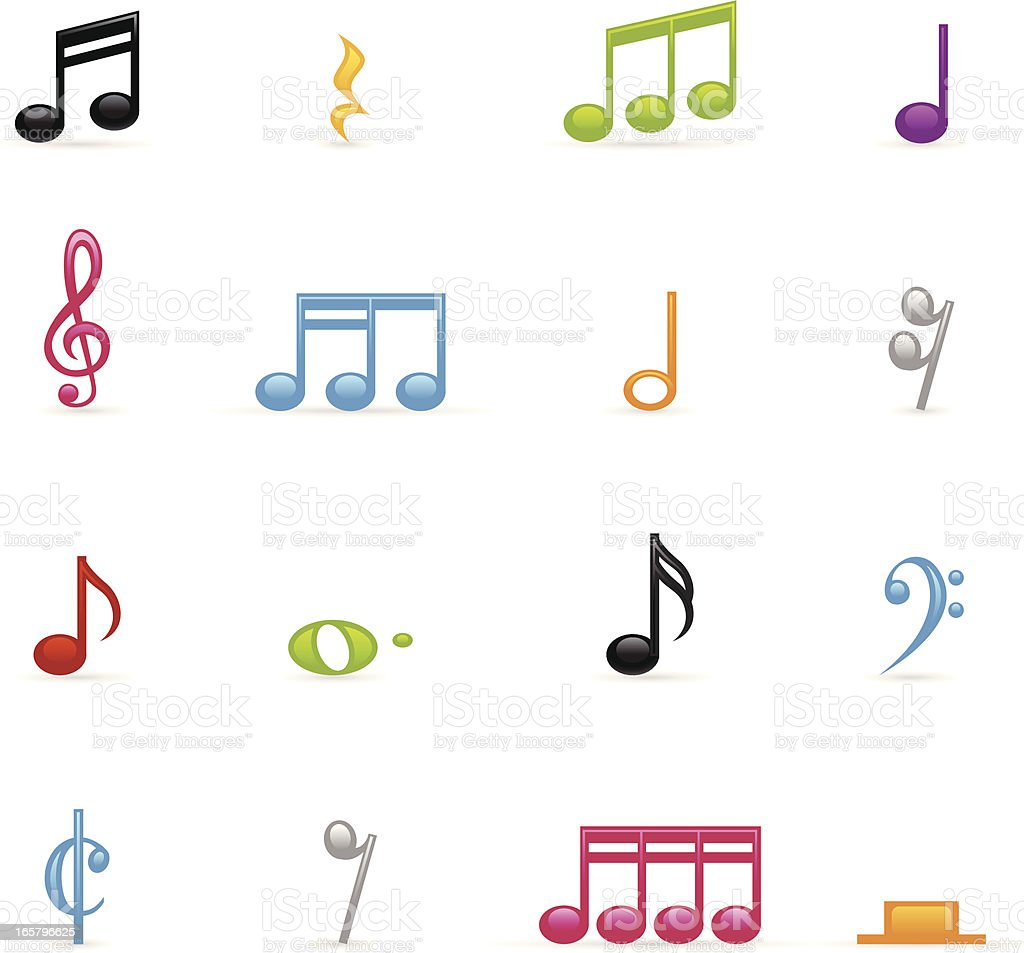 Color Icons - Musical Notes royalty-free stock vector art