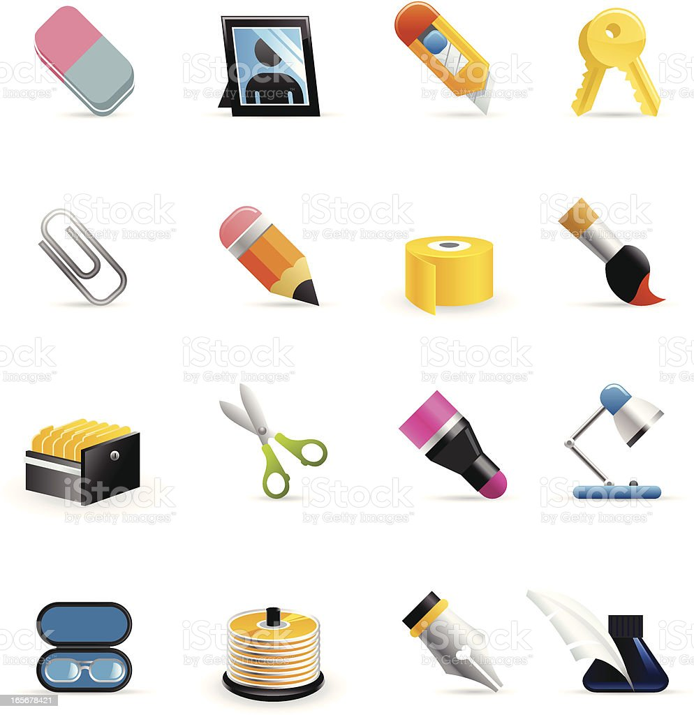 Color Icons - Office Assets vector art illustration