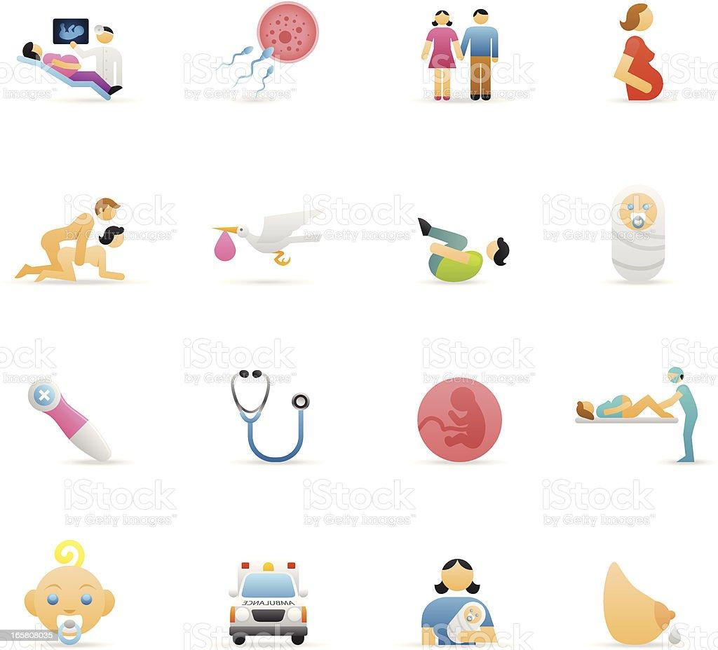 Color Icons - Pregnancy & Childbirth vector art illustration