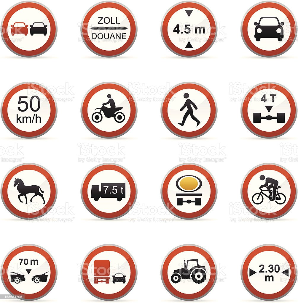 Color Icons - Road Signs vector art illustration