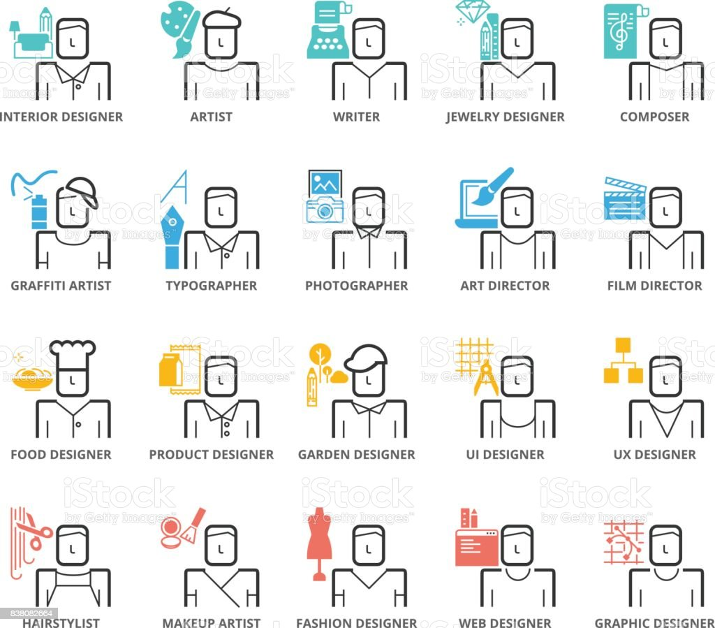 Color Icons set of Career Avatar about Art and Design vector art illustration