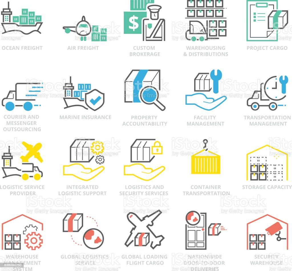 Color Icons set of International Logistic vector art illustration