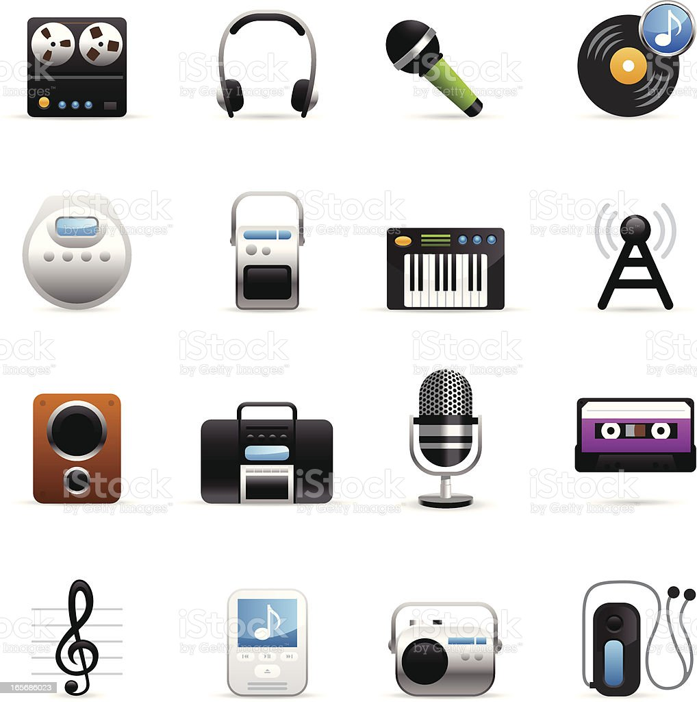 Color Icons - Sound & Music vector art illustration