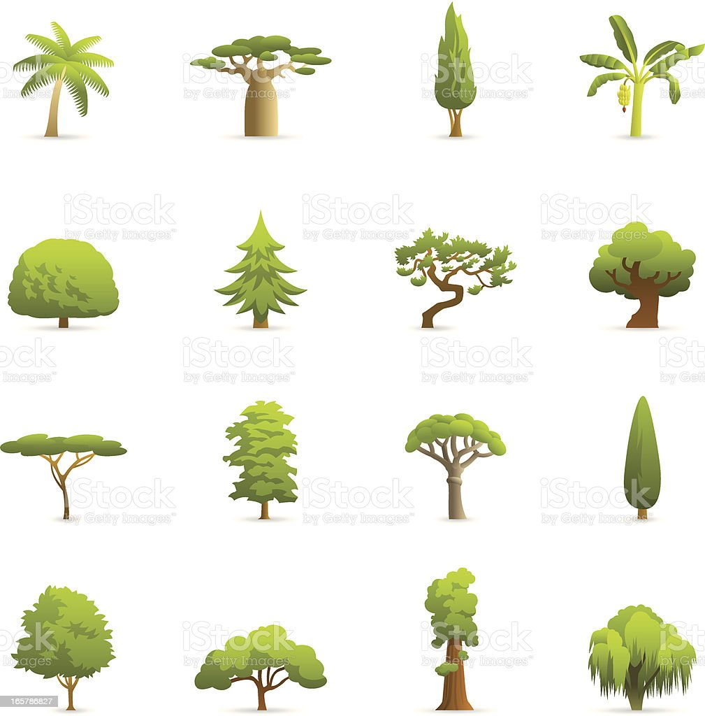 Color Icons - Trees vector art illustration
