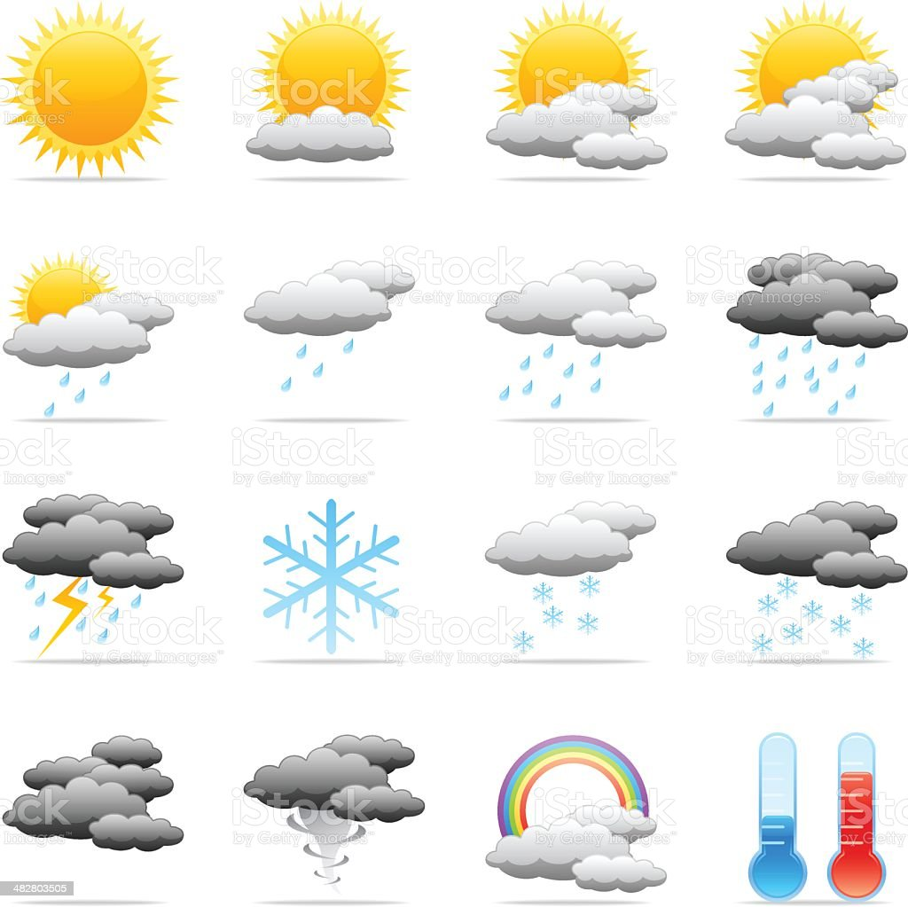 Color Icons - Weather vector art illustration