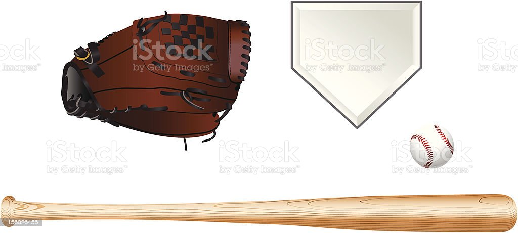 Color illustration of baseball equipment on white background vector art illustration