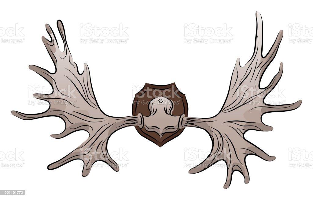 Color illustration of moose antlers. vector art illustration