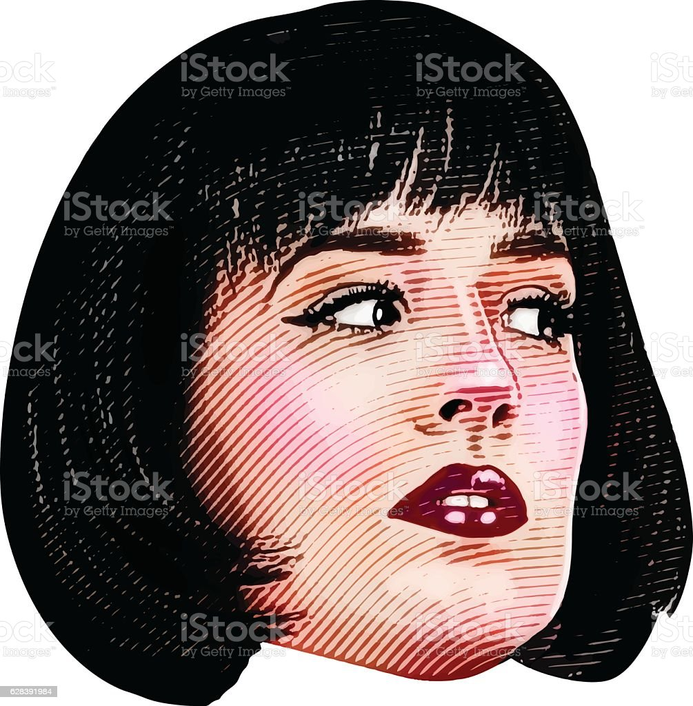 Color Illustration Of Woman's Face With a suspicious Expression vector art illustration