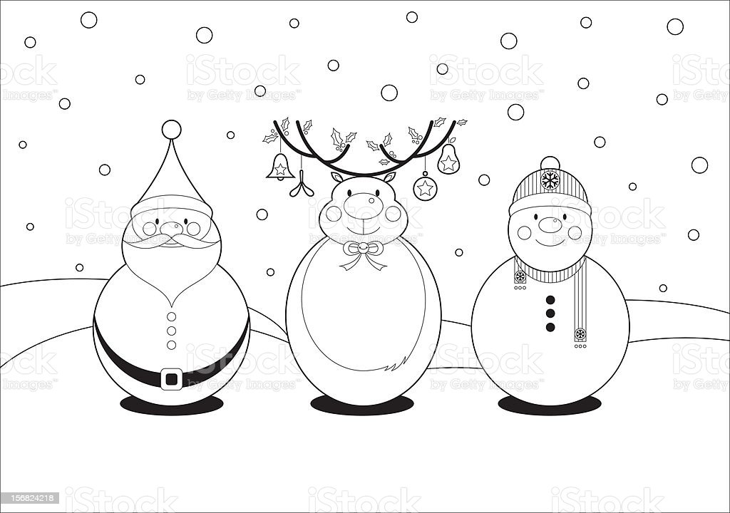 Color In Christmas Characters royalty-free stock vector art